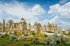 Love valley in Cappadocia, Anatolia, Turkey. Volcanic mountains in Goreme national park royalty free stock images