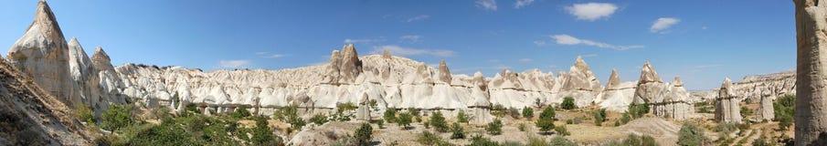 Love Valley in Cappadocia panoramic. Panoramic view of Love Valley in Cappadocia, Turkey Stock Photos