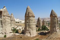 Love valley in Goreme village, Turkey. Rural Cappadocia landscape. Stone houses in Goreme, Cappadocia. Countryside lifestyle Stock Image