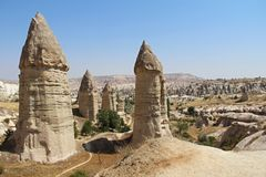 Love valley in Goreme village, Turkey. Rural Cappadocia landscape. Stone houses in Goreme, Cappadocia. Countryside lifestyle Royalty Free Stock Photography