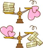 Love and value for money. This is an illustration of the value of love and money Royalty Free Stock Photos