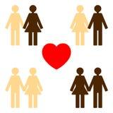 Love between various skin colors Stock Photos