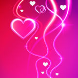 Love vector background glowing pink hearts Royalty Free Stock Photos