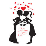 Love vector card. Happy Valentine's Day vector card with silhouettes Stock Images
