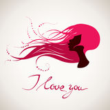 Love vector card. Happy Valentine's Day vector card with silhouettes Royalty Free Stock Photos