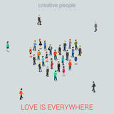Love vector flat isometric concept - People standing as Heart Royalty Free Stock Photography