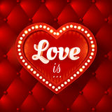 Love is... Vector flyer with red heart and lights. Stock Photos