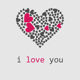 Love. Vector illustration. Big heart consist of a plurality of litle hearts Royalty Free Stock Photo