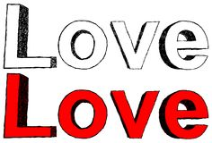 Love. Vector illustration of hand-drawn word love intwo colors Stock Photography