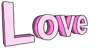 LOVE. Vector illustration of hand-drawn word love in two colors royalty free illustration