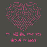 Love. Vector illustration. The labyrinth maze, which carry you to true love Stock Photography