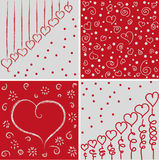 Love vector pattern. Four red and gray patterns with hearts Stock Image