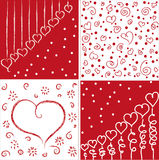 Love vector pattern. Four red and white vector patterns with hearts Stock Photography