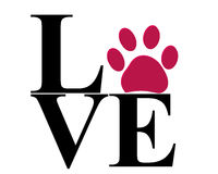 Love vector with paw print vector illustration Royalty Free Stock Image
