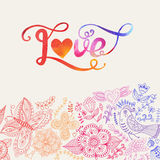 Love vector watercolor lettering. Watercolor letters love te Stock Image