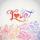 Love vector watercolor lettering. Watercolor letters love te Stock Photo