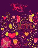 Love vector watercolor lettering. Watercolor letters love te Stock Images