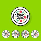 Love vegan logo. Cafe or restaurant emblem. Fork, spoon and vegetables. Royalty Free Stock Photo