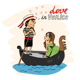 Love in Venice. Between a handsome gondolier and pretty young woman taking a trip in the gondola looking into each others eyes with hearts and text Royalty Free Stock Image