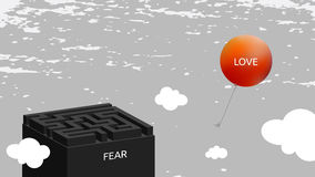 Love versus fear. Concept, easyness, rising up above the labyrinth of problems concept illustration stock illustration