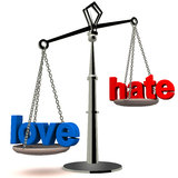 Love versus hate. Hate versus love on a weighing scale on white background, showing the power of love exceeding the energy of hate, humanity and purity concept Stock Photography
