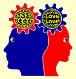 Love versus Money Royalty Free Stock Images