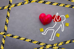 Love victim crime scene concept Stock Images