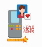 Love video game portable girl character Royalty Free Stock Images