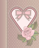 Love vintage card with heart and rose Stock Images