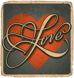LOVE vintage hand lettered card (vector) Stock Image