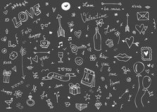 Love and Vlentine`s day doodle set Stock Photography
