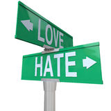 Love Vs Hate Road Signs Opposite Changing Feeling Relationship Royalty Free Stock Photos