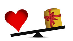 Love vs presents balance Stock Photography