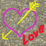 LOVE on the wall Royalty Free Stock Photos