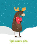Love warms you. Cute moose hugging big red heart Stock Photography