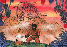 The love of a warrior (2006). A warrior man on his journey, leaving the mountains behind and walking through the jungle holding a talisman in his hands while the Royalty Free Illustration