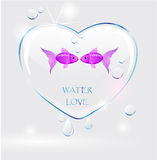 Love water. Ecology background - water heart, drops and with  pair of fish Stock Image