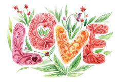 Love. Watercolor hand drawn word `Love` with flowers and leaves on white isolated background stock illustration