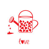 Love watering can with hearts inside. Card Stock Photo
