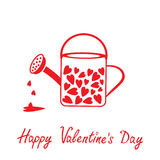 Love watering can with hearts inside. Happy Valent Royalty Free Stock Photos