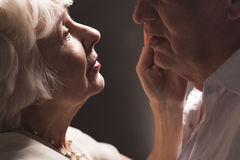 Love the way you look at me. Elder couple faces close to each other with woman's hand touching man's face Stock Photos