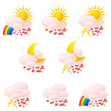 Love weather icons Royalty Free Stock Photos