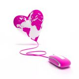 Love in the web. Heart-shaped world globe connected to pink mouse Royalty Free Stock Photos