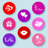 Love web buttons-flat Stock Photos