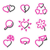 Love web icons, pink contour series vector illustration