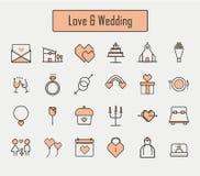Love&wedding-Ikonen eingestellt Lizenzfreie Stockbilder