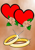 Love. Wedding illustration with hearts and roses suitable for photo or text vector illustration
