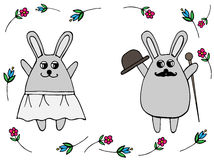 In love wedding rabbit in a skirt and with a hat  Stock Photography
