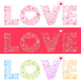 LOVE with wedding set Royalty Free Stock Images