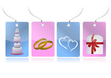 Love weeding set of tags illustration Stock Image